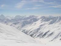 Skitour Kreuzspitze, Blick 3 Zinnen