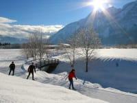Langlaufen vor den Dolomiten