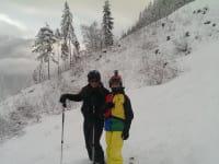 die Hausherrn beim Skifahren
