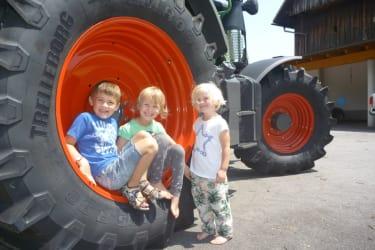 Kinder im Traktorreifen