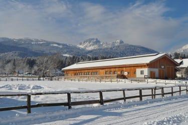 Der neue Stall mit Blick auf das Nassfeld