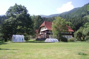 Blick auf Haus mit Garten und Pool