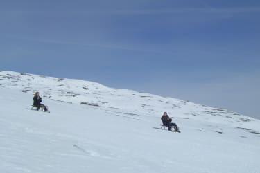 rasante Abfahrt vom Gipfel zur Frido Kordon Hütte