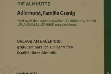 Auszeichnung Almhuette Adlerhorst