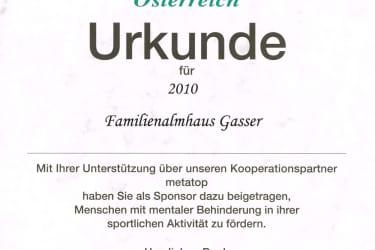 Special Olympics Urkunde