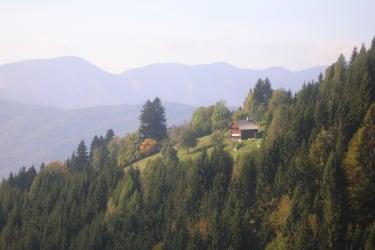 Blick vom Wanderweg zum Haus