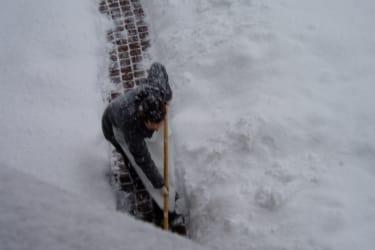 Fleißig beim Schnee schaufeln