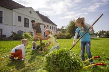 Kinder helfen beim Mähen