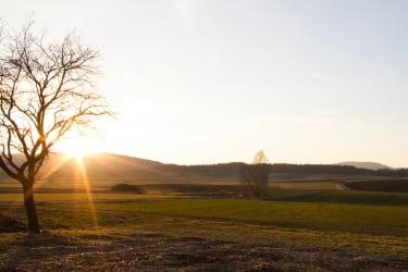 Ferienhaus Prager - Ausblick mit Sonnenuntergang