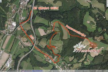 Anfahrtsplan zum Wachahof ab der Autobahnabfahrt Edlitz