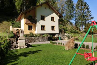 Garten mit Grill und Kinderschaukel