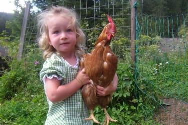 Christina mit ihrer Henne Quelle: Barbara Teufel
