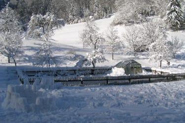 unser verschneiter Bauerngarten
