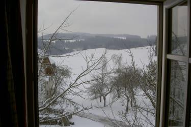 Blick aus dem Fenster auf Mühlviertler Winterlandschaft