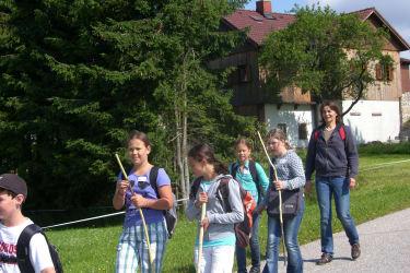 Wanderung mit Schülern