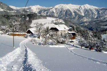 Blick vom Schilift auf unseren winterlichen Biobauernhof