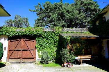 das Hoftor und gemütliche Laube im Innenhof