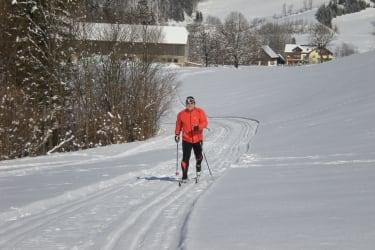 Direkt an unserem Ferienhof führt die Loipe der Langlaufarena Waldhütte vorbei