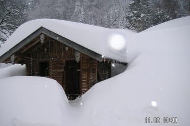 Ziegenhaus viel Schnee