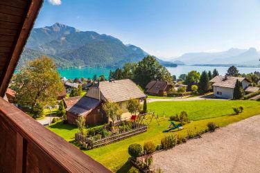 Ausblick vom Balkon auf den Wolfgangsee