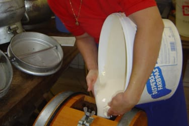 Den Ra für die Buttererzeugung in den Rührkübel füllen