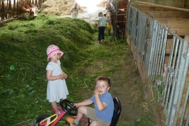 Fritzi und seine Freundin beim Füttern im Stall