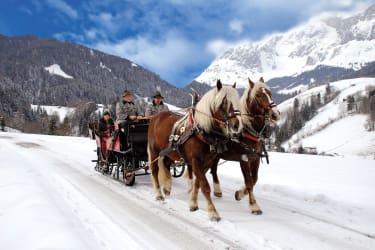 Pferdekutschenfahrt durch verschneite Winterlandschaft