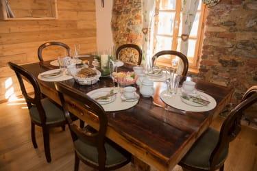 Wohnküche im Obergeschoß , Zirbenlandappartment