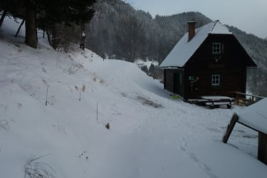 Winterlandschaft Hütte