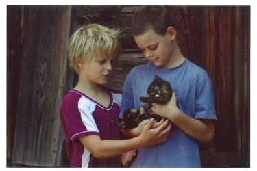 Gästekinder mit Katze