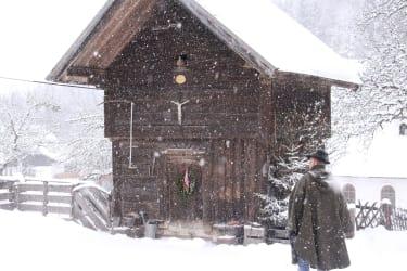 Getreidekasten im Schneegestöber
