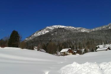 Winterlandschaft hinter dem Wohnhaus