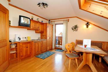 Wohnraum mit Sitzecke, Küchenzeile und Sofa