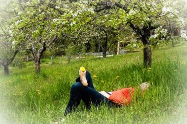 Einsinken in den Grashalmen und Träumen unter Bäumen