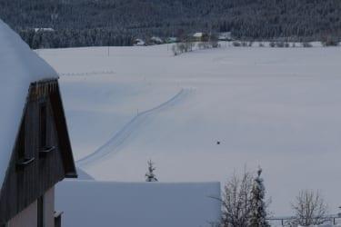 Die Langlaufloipe direkt vor unserem Ferienhaus