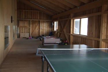 Spielscheune mit Tischtennis, Tischfußball, Trettraktor, Laufräder, Go-Kart, Basketball, Federball.......