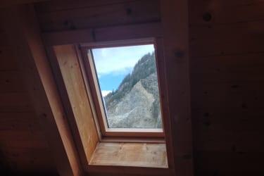 Apfelrose Aussicht Dachfenster