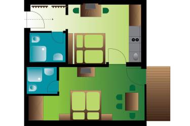Appartement Blütenzauber 1 Zimmerplan