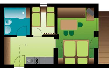 Appartement Kleeblatt Zimmerplan
