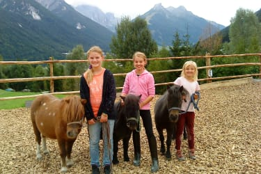 The children are happy and occupied with our ponies