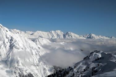 Vom Sennjoch (Schlick 2000) reicht der Blick bis zur Nordkette und Karwendlgebirge