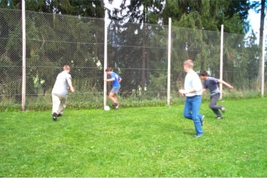 The boys playing football