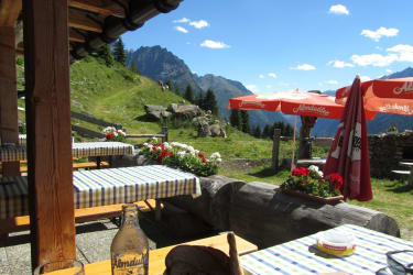 Das Ziel ist erreicht, die bewirtschaftete Hütte der Falkaunsalm. Nun dürfen Sie sich freuen auf eine Brettljause, Kaiserschmarren, Tiroler Knödel usw