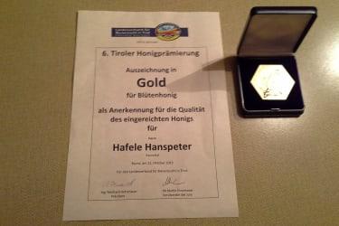 Goldmedaillie für unseren Honig