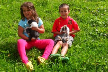 Unsere Kinder mit Zwerghasen