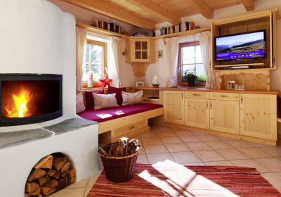 The fireside area with TV
