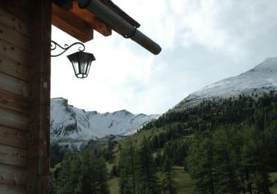 Ausblick von der Hütt auf die Berge