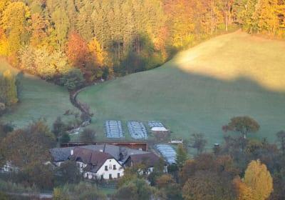 Familie Stoier - Hofansicht im Herbst