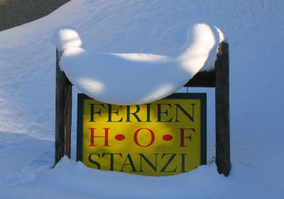 Farm sign in winter