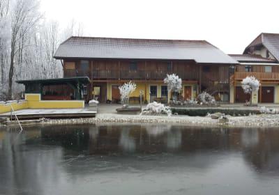 Schwimmteich mit klarem Eis